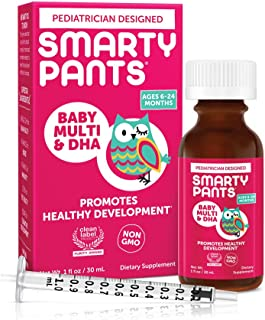 SmartyPants Baby Multi & DHA Liquid Multivitamin: Vitamin C, D3, E, Gluten Free, Choline, Lutein, for Infants 6-24 Months,...
