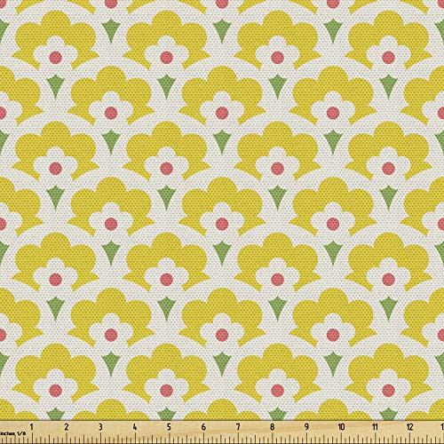 Ambesonne Floral Fabric by The Yard, Continuous Demonstration of Retro Look Happy Spring Tone Flowers Print, Decorative Fabric for Upholstery and Home Accents, 1 Yard, Yellow Lime