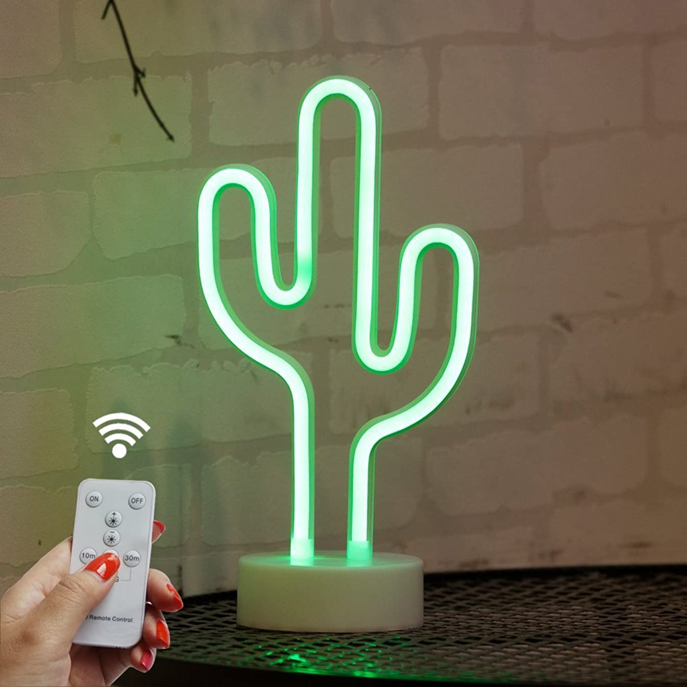 DELICORE Cactus Neon Signs, LED Remote Control Neon Light with Holder Base for Party Supplies Girls Room Decoration Accessory for Luau Summer Party Children Kids Gifts (RC Cactus with Holder)