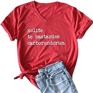 Nolite Te Bastardes Carborundorum Letter Graphic Cute T Shirt Women's Casual V-Neck Tees Short Sleeve Summer Tops