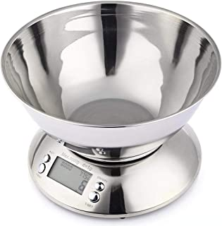 Digital Electronic Kitchen Scale Stainless Food Scale Measuring Tools 5kg/1g LCD Display with Alarm Timer Temperature Sensor