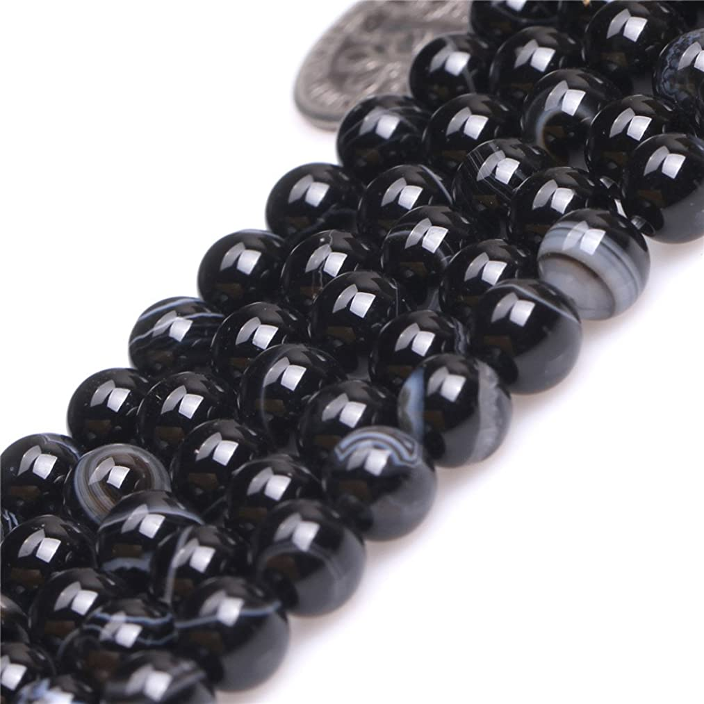 JOE FOREMAN 6mm Stripe Black Agate Semi Precious Gemstone Round Loose Beads for Jewelry Making DIY Handmade Craft Supplies 15