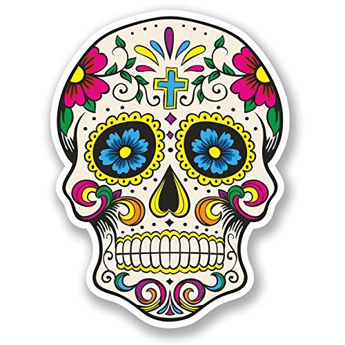 2 pegatinas de vinilo de calavera de azúcar mexicana español Mexicana Día de los Muertos #5667