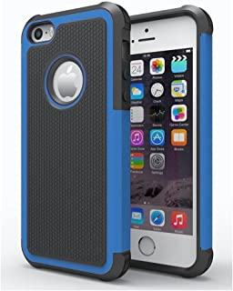 AGRIGLE Shock- Absorption/High Impact Resistant Hybrid Dual Layer Armor Defender Full Body Protective Cover Case Compatible with iPhone 5/5S/SE (Blue)