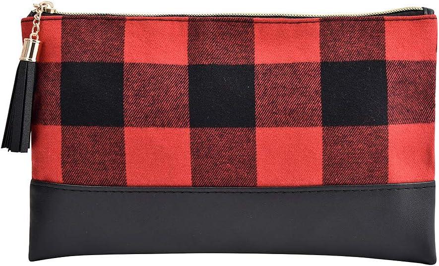 travel bag, Buffalo plaid Oversized pouch snack purse holiday clutch purse Christmas purse makeup bags