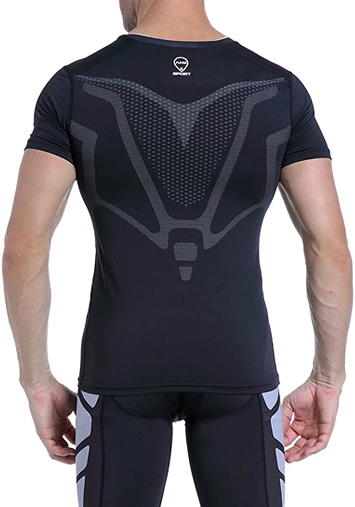 AMZSPORT Men/'s Compression Shirts Short Sleeve Athletic Workout T-Shirt Cool Dry Undershirts