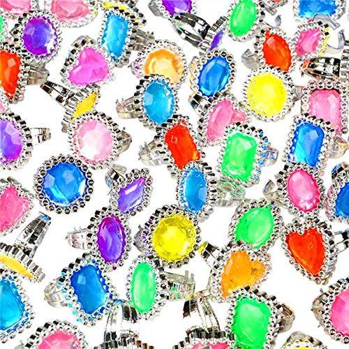 German Trendseller® - 4 x Juwelen Ringe für Mädchen ┃ Edelstein ┃ Princessin ┃ Cinderella ┃ Mitgebsel ┃ 4 Zauberhafte Ringe┃ Mädchengeburtstag