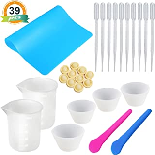 Silicone Mixing Cups for Resin LET'S RESIN Silicone Measuring Cups 100ml, Epoxy Resin Mixing Cups with Silicone Mat, 2PCS Silicone Stir Stick, 10 PCS Plastic Transfer Pipettes, 20PCS Finger Cots
