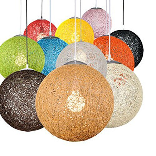 Modern Black Lattice Wicker Rattan Globe Ball Style Techo Colgante Pantalla de luz Home Dining Decoration Lamps (Blanco, 23cm)