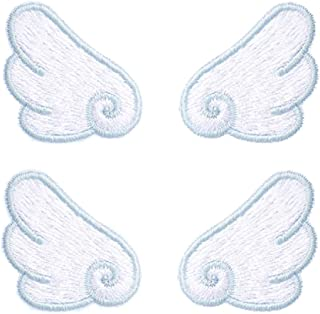 YOUOR 2 Pairs Angel Wings Embroidery Patch Iron on Sew on Applique Badge