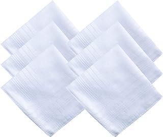 MENDENG Men's Soft Handkerchiefs 100% Cotton Solid White Hankie 6 Pieces Set