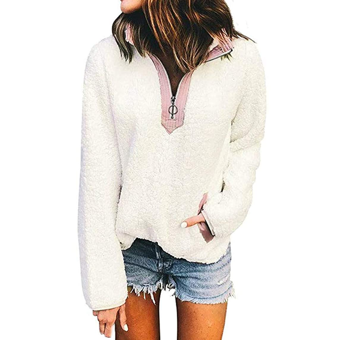 Ulanda Sherpa Pullover Womens Stand Collar Zip Up Solid Color Sherpa Pullover Fuzzy Sweatshirt Tops