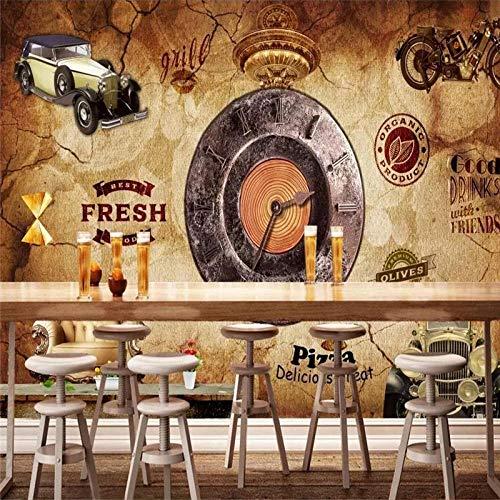 NIdezuiai Aanpassen 4D behang wanddecoratie, Europese vintage industriële wind stereo klok bar achtergrond muur achtergrond achtergrond achtergrond voor bar cafe nachtclub kTV muurschildering decoratie 24in×48in 60cm(H)×120cm(W) zoals getoond