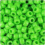 BeadTin Lime Opaque 9mm Barrel Pony Beads (500pcs)