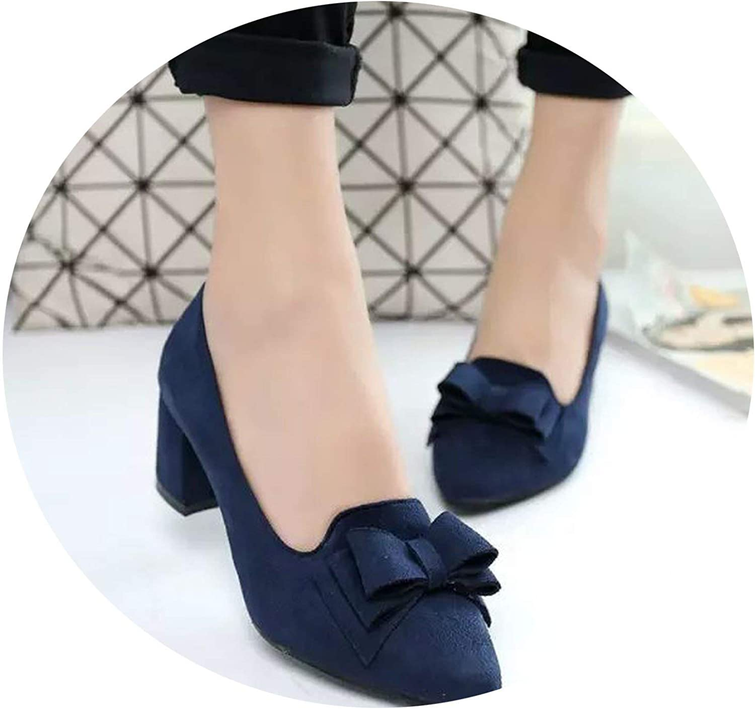 Lewis Pitman Big Size Women shoes Pointed Toe Bowtie Boat shoes Office Dress shoes Woman High Heels Pumps Square Heeled Ladies shoes