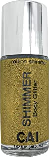 CAI Beauty NYC Gold Glitter | Easy to Apply, Easy to Remove | Roll On Shimmer for Body, Face and Hair | Holographic Cosmet...