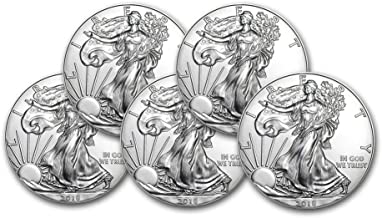 2018 Lot of (5) 1-Ounce American Silver Eagle $1 .999 Fine Silver Brilliant Uncirculated US Mint