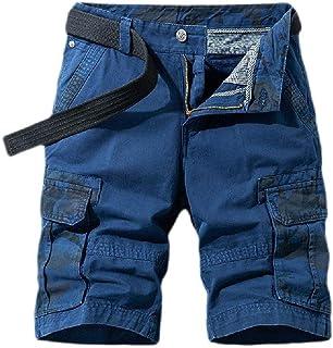 Loyomobak Mens Big & Tall Loose Fit Straight Leg Military Multi Pockets Cargo Shorts