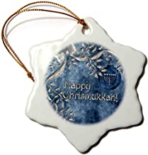 Happy Chrismukkah Blue and Silver Ornament and Menorah-Snowflake Ornament, Porcelain, 3-inch