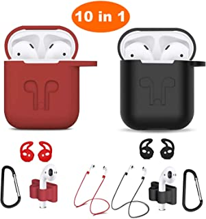 Airpods Case, Airpods Accessories Kits, 10 in 1 Protective Silicone Cover Skin Apple Airpods Anti-Lost Airpods Strap, Airpods Watch Band Holder, Airpods Ear Hook (Black and red)