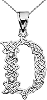 14k D Initial in Celtic Knot Pattern White Gold Diamond Pendant Necklace
