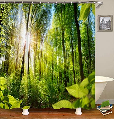 ZZZdz Die Sonne Scheint Im Grünen Wald. Grüne Wiese. Duschvorhang. Wasserdicht. Einfach Zu Säubern. 180X180Cm.