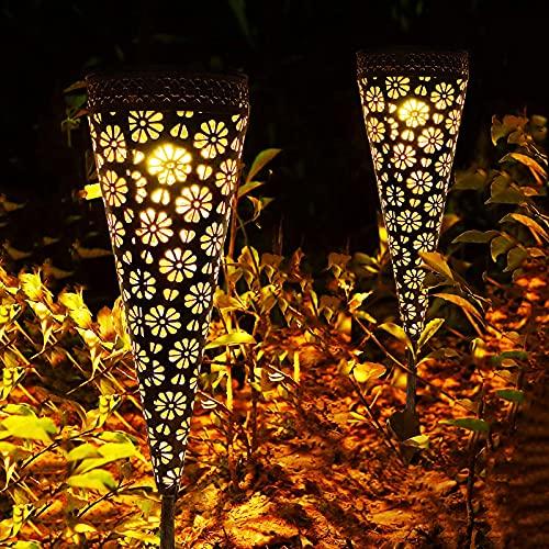 Solarlampen für Außen, 2 Stück Metall Solarleuchten Garten Deko, Orientalische Led Lampe, Garten Zubehör Gartenleuchten für Balkon Terrasse Hofwege, Warmweiß, IP65 Wasserdicht,[Energieklasse A++]