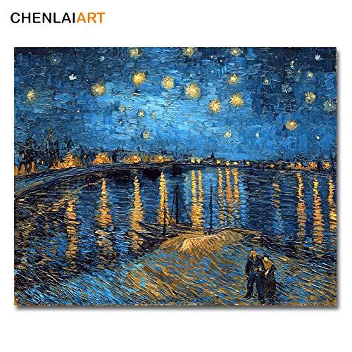 xingbu Rahmenlos Van Gogh Berühmte Leinwanddruck Gemälde Sternennacht über der Rhone Replik Bilder für Wohnzimmer Poster und Drucke Wandkunst60x75cm