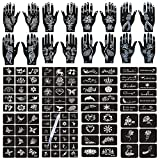 Henna Tattoo Stencils 120 PCS, 24 Sheets Black Henna Tattoo Templates,Reusable Henna Tattoo Kit,DIY Tattoo Stencils ,Body Art Stencils for Women and Teen Girls