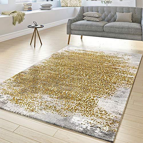 T&T Design Designer Teppich Wohnzimmer Kurzflor Teppich Florale Ornamente Grau Gold Gelb, Größe:80x150 cm