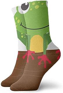 tyui7, Calcetines de compresión antideslizantes de rana de dibujos animados Calcetines deportivos de 30 cm acogedores para hombres, mujeres, niños