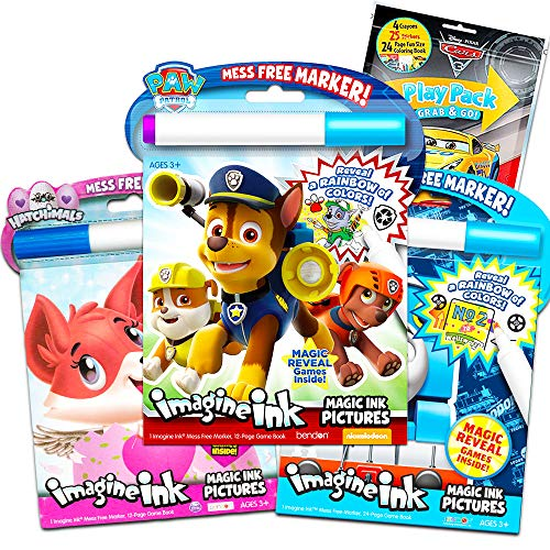 Paw Patrol Imagine Ink Coloring Book Set for Toddlers Kids -- 3 Magic Ink Books Featuring Paw Patrol, Thomas The Train, Hatchimals with Invisible Ink Pens and Stickers (Mess Free Coloring)