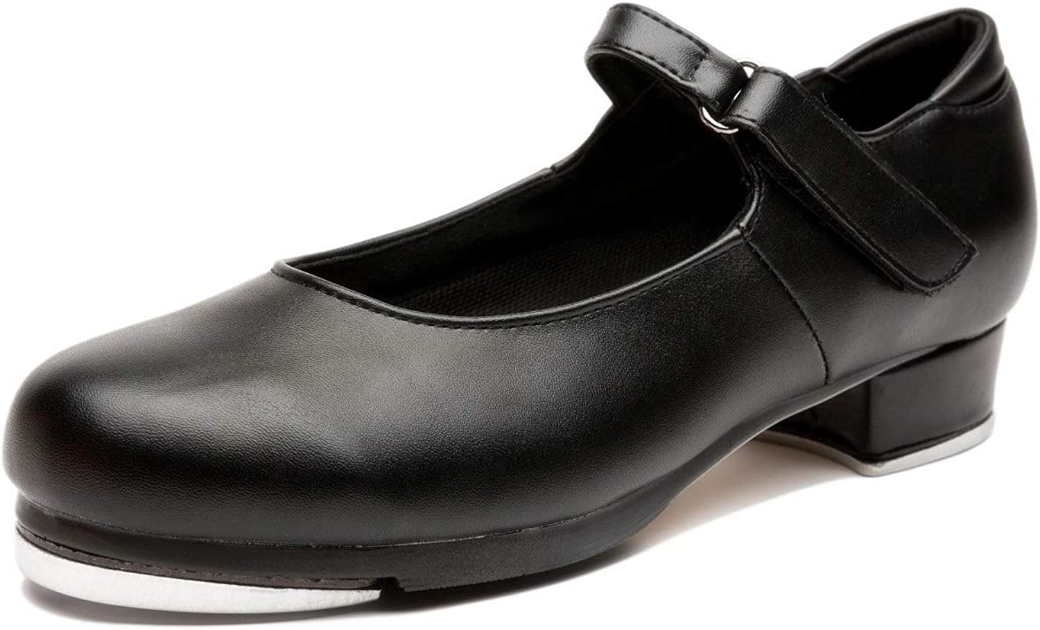 NLeahershoe Slide Buckle Leather Tap shoes Dancing shoes for Women,Ladies,Girls, Black