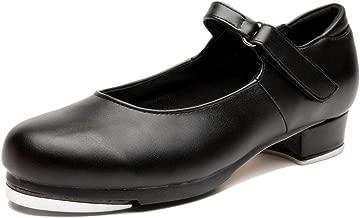 NLeahershoe Slide Buckle Leather Tap Shoes Dancing Shoes for Girls(Toddler/Little Kid/Big Kid