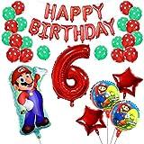 Yisscen 6 Año Super Mario Globos de Fiesta de Cumpleaños Set Látex de Puntos Pentagrama Pancarta Papel de Aluminio Helio Número 6 Globos Usado para 6 Año Niño Niña Aniversario Partido Decoraciones