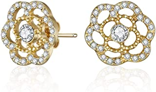 Mestige Golden Posey Earrings with Swarovski Crystals