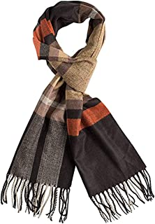 Runtlly Men's Winter Scarf Soft Classic Cashmere Feel Scarves Unisex 9-8 BlackCamel