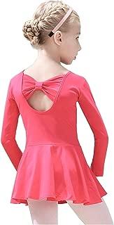Gurcyter Athletic Leotards,Girls' Short/Long Sleeve Ballet Leotard Skirted Dance Back Bowknot Dress