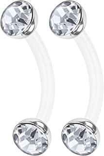 2PCS Bioplastic Curved Barbell Ring 16g 5/16 8mm 3mm Clear Crystal Ball Cartilage Lobe Earrings Tragus Piercing Jewelry 0909