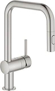 GROHE 32319DC3 Minta Dual Spray Pull-Down Kitchen Faucet, 1.75 gpm, SuperSteel InfinityFinish