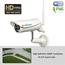 TriVision Outdoor Security Camera WiFi POE HD 1080P with Long Range Motion Sensor, Super Low Light Performance, Alarm Recording with SD Card, FTP, Google Drive, Dropbox