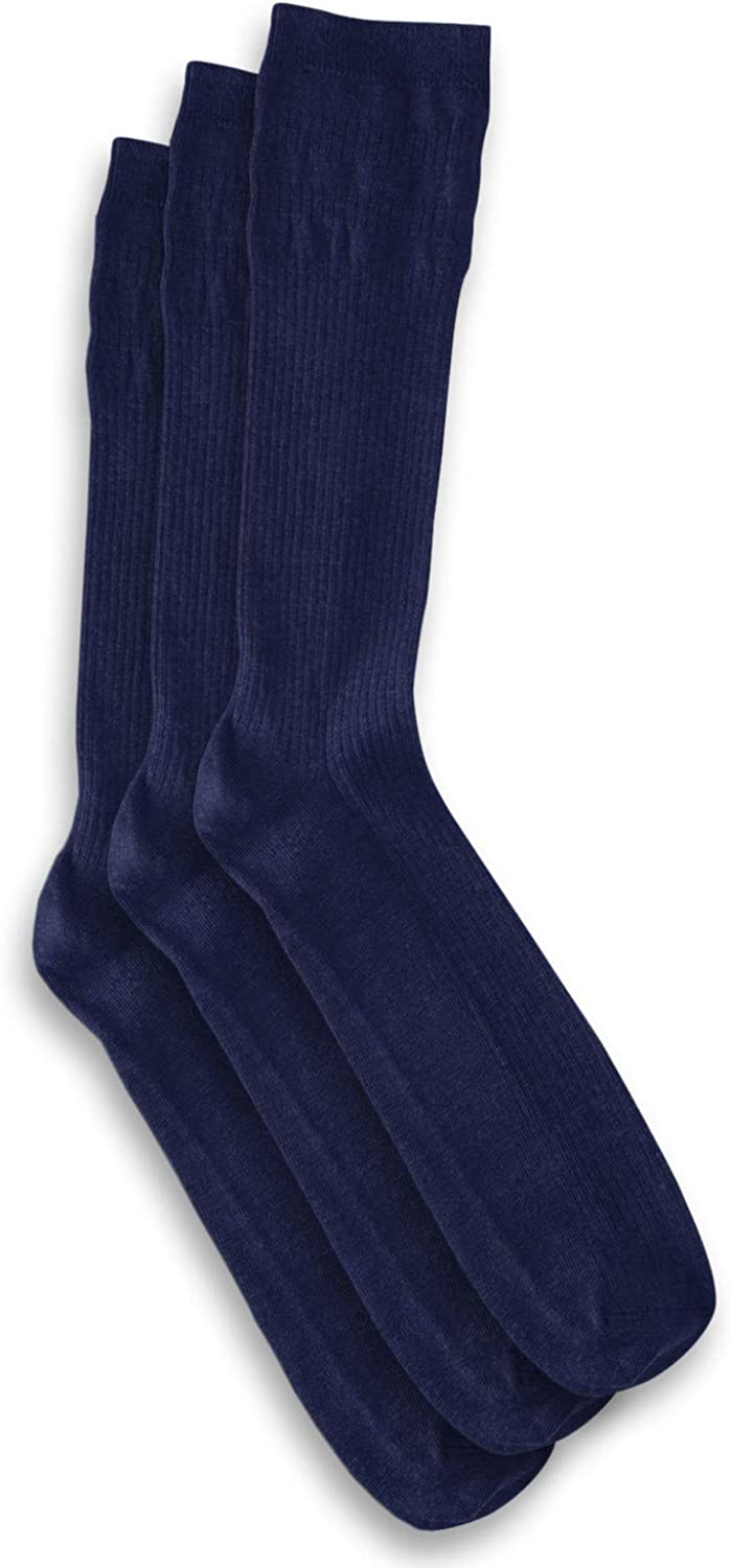 Harbor Bay by DXL Big and Tall Non-Elastic Crew Socks 3-Pack, Navy, 13-16