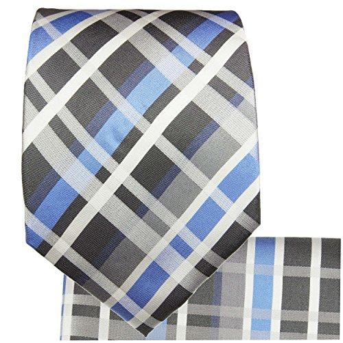 Cravate bleu tartan ensemble de cravate 3 Pièces (longueur 165cm)
