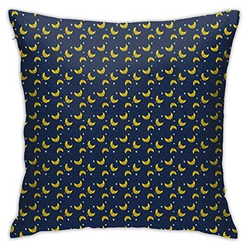 pingshang Fundas de almohada modernas, composición simple de cielo nocturno de estrellas y media luna decoración del hogar, 45 x 45 cm