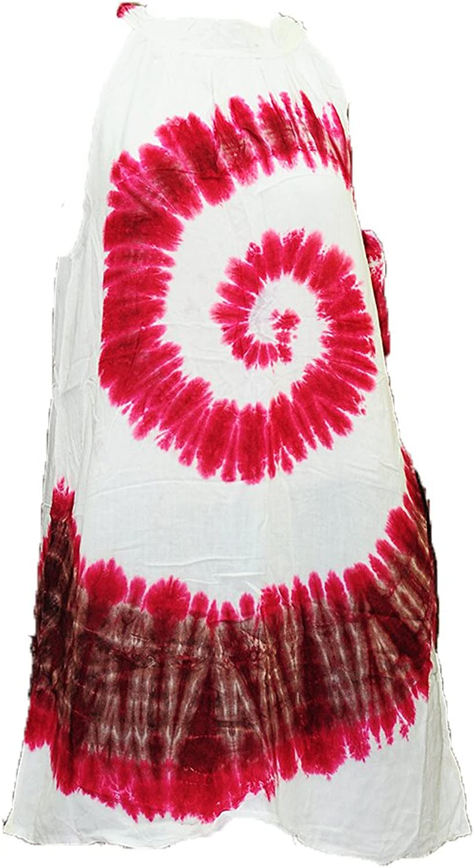 Thai Tie Dye Cami Sun Dress Sleeveless Turtleneck Summer Beach Boho Hippie
