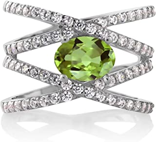 Gem Stone King Sterling Silver Green Peridot Women's Ring (2.26 cttw Oval 8X6MM Available 5,6,7,8,9)