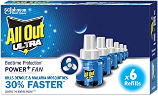 All Out Ultra Mosquito Repellant Refill Pack of 6 (45 mL each) | 30% Faster Action