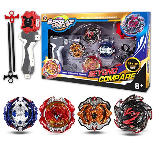infinitoo Kampfkreisel Burst | 4 Stück Speed Gyro Metal Kampfkreisel Set | 4D Fusion Modell Burst Evolution Kombination Series mit 2 Launcher Spielzeug für Kinder