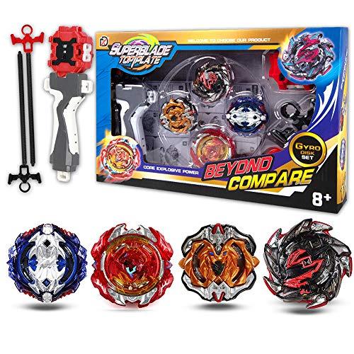 infinitoo Burst Juego de 4 giroscopios de Combate 4D Fusion Modelo Lanzador de aceleración Gyro Juguete de Regalo para niños