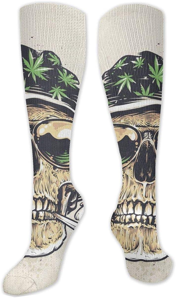 Vintage Skull Smoke Knee High Socks Leg Warmer Dresses Long Boot Stockings For Womens Cosplay Daily Wear